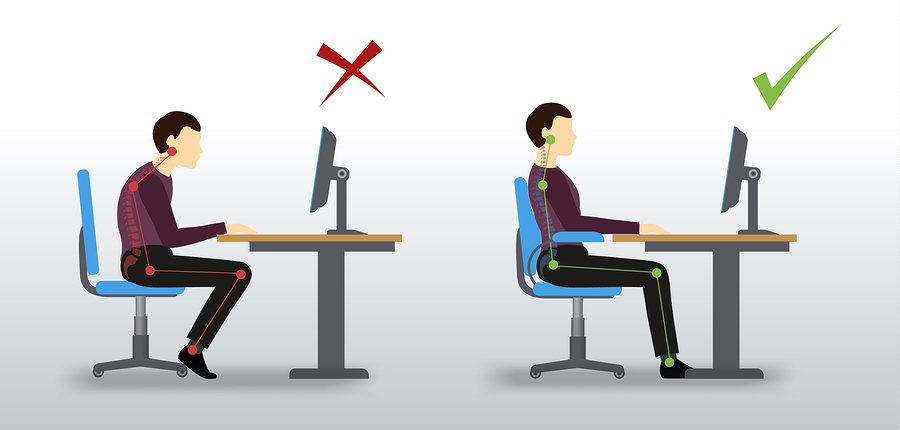 Office ergonomic. Wrong and correct sitting posture of a man near the computer monitor